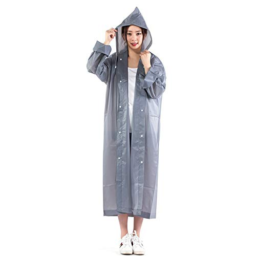 Grey JIGAN 10 pcs Clear and Reusable Waterproof Portable Raincoat EVA Material, Rain Resistant Poncho with Hoods for Travel, Festivals, Theme Parks and Outdoors