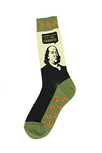 Foot Traffic   Mens Education Themed Socks  Ben Franklin  Shoe Sizes 7 12