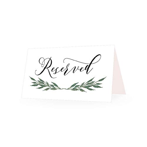 25 Greenery VIP Reserved Sign Tent Place Cards for Table at Restaurant, Wedding Reception, Church, Business Office Board Meeting, Holiday Christmas Party, Printed Seating Reservation Accessories -