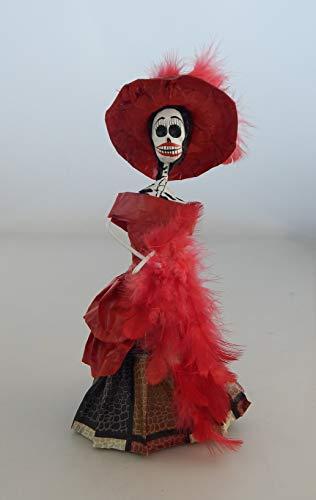 COLOR Y TRADICIÓN Mexican Catrina Doll Day of Dead Skeleton Paper Mache Dia de Los Muertos Skull Folk Art Halloween Decoration # 896 for $<!--$17.99-->