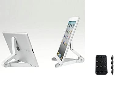 "White Compact Portable Fold-Up Travel Stand Tablet Holder for Amazon Kindle Fire HD 8.9 - Amazon Kindle Fire HD 8.9"" 4G - Amazon Kindle Keyboard 3G - Includes a Mini Suction Holder from Xenda"