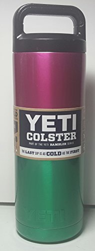 YETI Custom Powder Coated Rambler Stainless Steel Insulated Water Bottle, Summertime Raspberry Pink / Emerald Green Shimmer by YETI