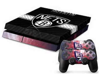 Super18 game® NBA NJN Nets Decal Sticker Skin For Playstation 4 Console+Controllers (Playmaker Net)