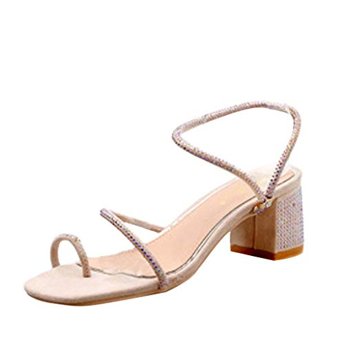 MmNote Women's Summer Casual Rhinestone Hollow Fashion Outdoor Sandals High Heels Shoes Pink ()