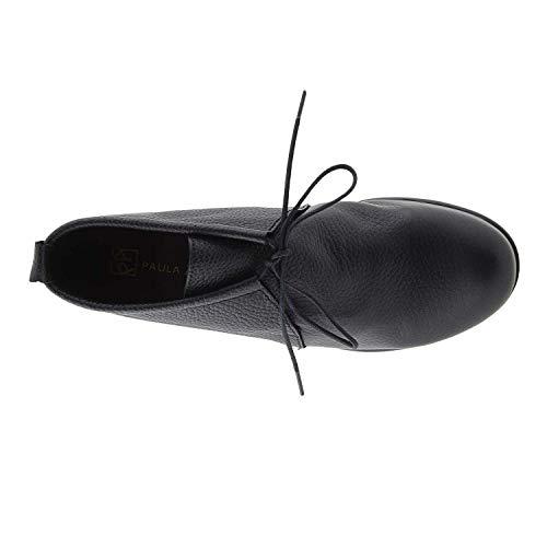 Cordones Piel Con Con Negro Con Cordones Botines Piel Negro Piel Botines Cordones Botines q6twf