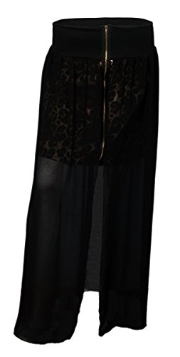 EVogues Plus Size Front Split Layered Skirt Black - 1X