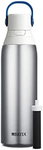 Brita Stainless Steel Water Bottle with Filter, 591 mL Premium Double Insulated Water Bottle