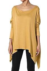 Themogan Women S Oversized Asymmetric Hem Long Sleeve Knit Poncho Top Mustard L