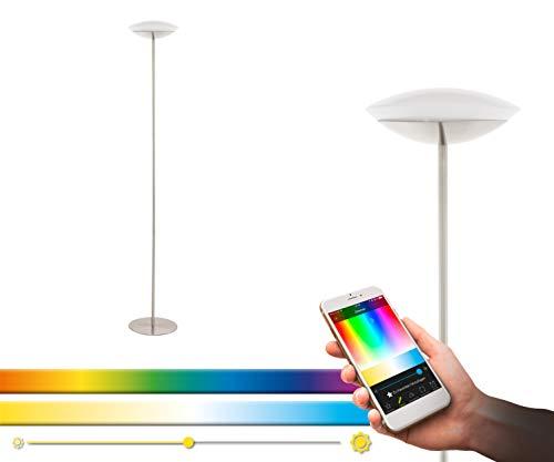 Lámpara de pie LED EGLO connect Frattina-C, 1 lámpara de pie de acero y plástico en níquel mate, color blanco, cambio de temperatura (cálido, neutro, frío), RGB, regulable, lámpara con interruptor