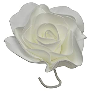 IG Artificial Rose Foam EVA Flower 8 Inch Round with Stem (3 Pieces) White 32