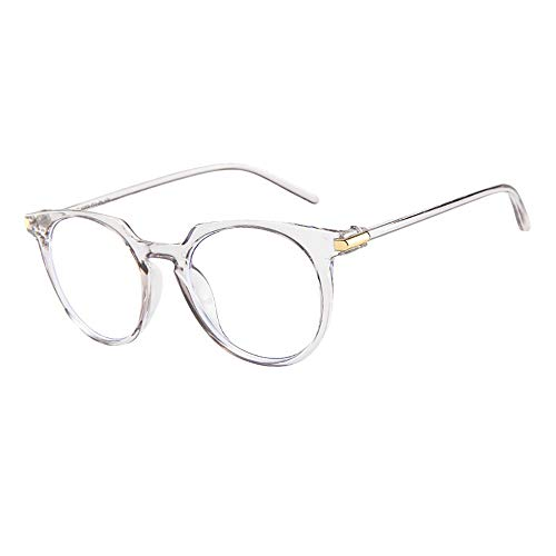 YEZIJIN Fashion Oval Round Clear Lens Glasses Vintage Geek Nerd Retro Style Metal ()