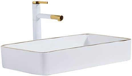 Minmin 浴室洗面小さなアパートホームセンターノルディック技術の矩形のセラミックテーブル浴室洗面台バルコニー洗濯プール浴室洗面600x340x110mm 芸術流域 (Size : 600x340x110mm)