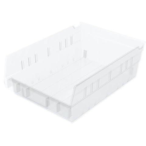Akro-Mils 30158 18-Inch by 8-Inch by 4-Inch Clear Plastic Nesting Shelf Bin Box, 12-Pack