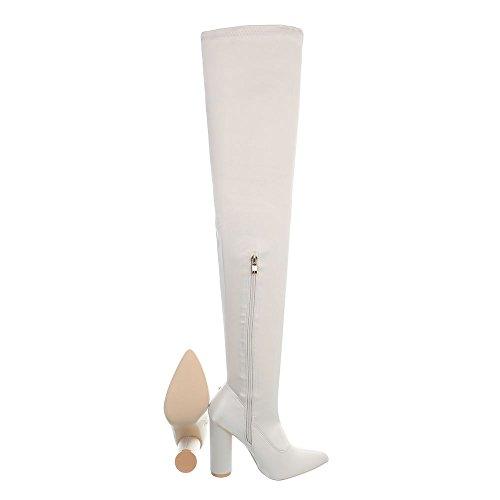 Crème Kitten Bottes 004 design Chaussures Jr heel Bottines Et Femme Cuissardes Ital 6wHqw
