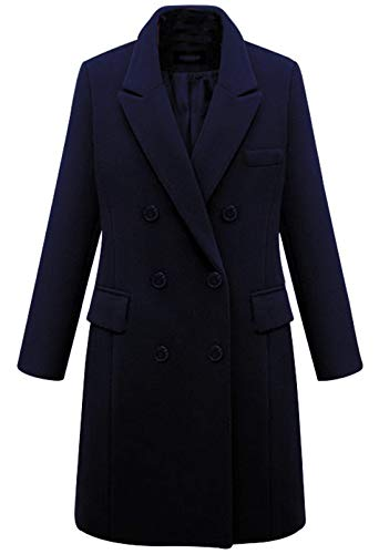 chouyatou Women's Basic Designed Notch Lapel Double Breasted Mid-Long Wool Pea Coat (XX-Large, Navy Blue)