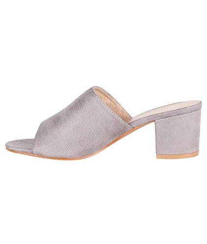 KRISP Zapatos Verano Mujer Tacón Medio Ancho Plataforma Tacones Sandalias Fiesta Gris