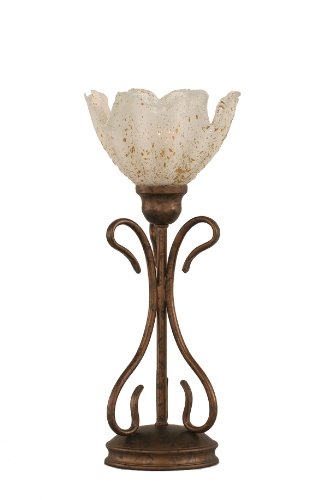 Toltec Lighting 31-BRZ-755 Swan One-Light Table Lamp Bronze Finish with Gold Ice Glass Shade, 7-Inch - Gold Ice Shade