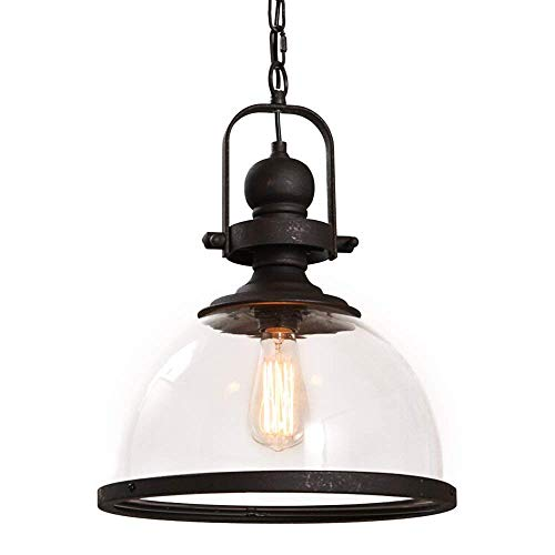 Industrial Nautical Glass Pendant Light, MKLOT 12.20″ Wide Retro Vintage Pendant Lighting Hanging Fixture Ceiling Lamp Chandelier with Chain Black Review