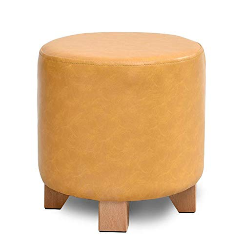 Bench PU Seat Ottoman Faux Leather Stool Bench Seat Home Furniture Wooden Legs 4 by SYAODU mini stool