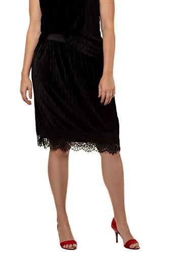 Ulla Popken Femme Grandes Tailles Jupe en Velours 719478 Noir