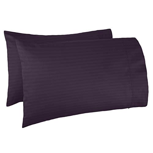 Nestl Bedding Soft Pillow Case Set of 2 – Double Brushed Microfiber Hypoallergenic Pillow Covers – 1800 Series Damask Dobby Stripe Pillow Cases, Standard/Queen - Purple