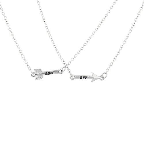 Lux Accessories Silvertone Arrow Friends Forever BFF Charm Pendant Necklace 2PC