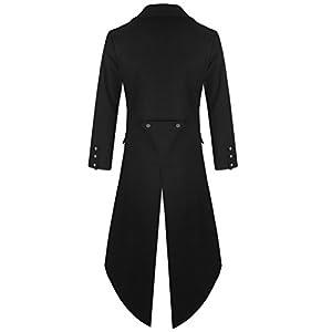 DarcChic Mens Gothic Tailcoat Jacket Black Steampunk VTG Victorian Coat