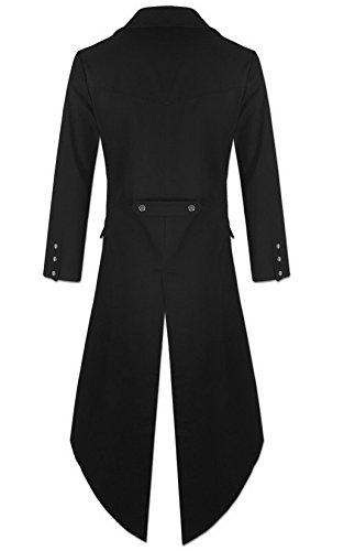 Mens Gothic Tailcoat Jacket Black Steampunk VTG Victorian Coat 4