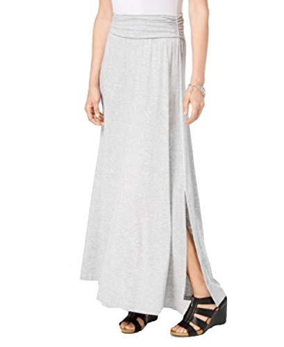 (Style & Co. Comfort-Waist Maxi Skirt (Light Gey Heather, XXL))
