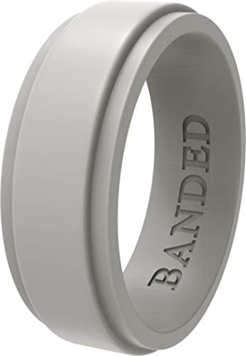 - BANDED GLORY Silicone Wedding Ring for Men, Rubber Wedding Bands, Step Edge Design, Wide Light Gray 12