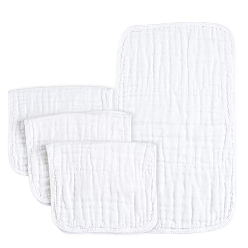 PPOGOO Burp Cloths Extra Absorbent and Soft Large 21x10 4 Pack 6 Layers 100% Muslin Cotton White