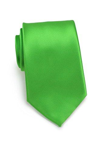 Satin Dress Tie Silk (Bows-N-Ties Men's Necktie Solid Color Microfiber Satin Tie 3.25 Inches (Grass Green))