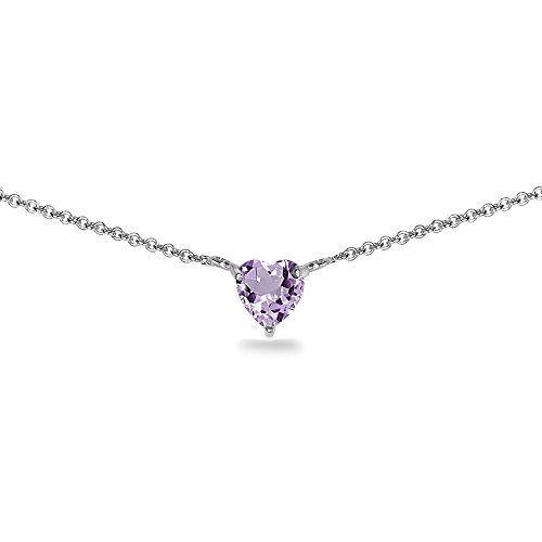 Sterling Silver Amethyst 7x7mm Heart Shaped Dainty Choker Necklace