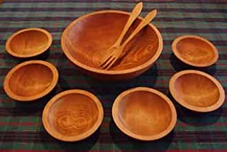 product image for Turned Solid Cherry Wood Salad Bowl Set - Seven Bowls - Holland Bowl Mill