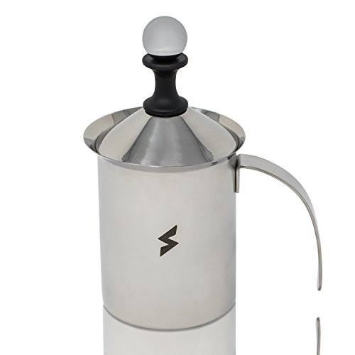 SparkPod Manual Milk Frother, Stainless Steel Hand Pump Milk Foamer, Handheld Milk Frothing Pitchers,Manual Operated Milk Foam Maker For Cappuccions and Coffee Latte 14 Ounce