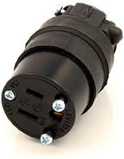 Leviton 515CR 15 Amp, 125 Volt, Cord Outlet, Rubber, Grounding (Black)