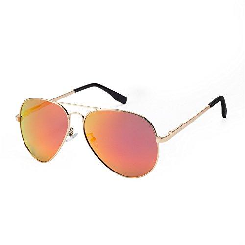 PGXT Premium Full Mirrored Aviator W/ Flash Mirror Lens Uv400 Sunglasses Eyewear Orange