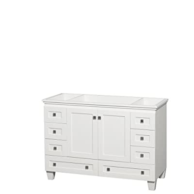Wyndham Collection Acclaim 48 inch Single Bathroom Vanity in White, No Countertop, No Sink, and No Mirror - Constructed of environmentally friendly, zero emissions solid Oak hardwood, engineered to prevent warping and last a lifetime. 12-stage wood preparation, sanding, painting and hand-finishing process. Highly water-resistant low V.O.C. sealed finish. Cutting edge, unique styling by Interior Designer Christopher Grubb. Practical Floor-Standing Design. Minimal assembly required. Deep Doweled Drawers. Fully-extending under-mount soft-close drawer slides. Concealed soft-close door hinges. Metal exterior hardware with brushed chrome finish. Plenty of storage space. Two (2) functional doors. Eight (8) functional drawers. Faucet not included. Counter not included. - bathroom-vanities, bathroom-fixtures-hardware, bathroom - 310 UXFtP6L. SS400  -