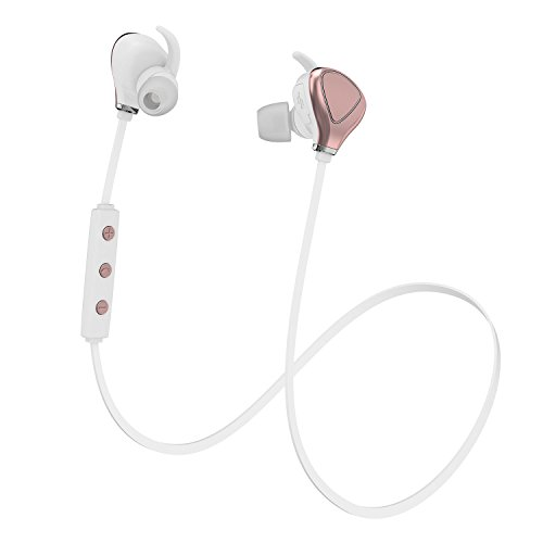 Bluetooth Headphones, Yuwiss Wireless Sport Running Workout Earbuds Sweat Proof Earphones, Cordless in Ear Headset with Mic for iPhone 6 7s Plus Android Samsung Galaxy (Rose Gold)