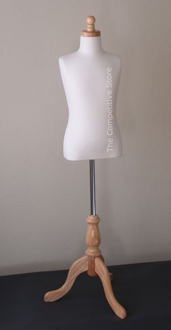 Kids 7-8 Years Child Jersey Mannequin Dress Form - Boy or Girl - White with Natural Tripod Base by EZ-Mannequins (Image #3)