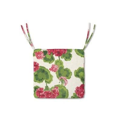 Plow & Hearth Polyester Classic Chair Cushions with Ties - 18½ x 16½ x 3 Geranium : Garden & Outdoor
