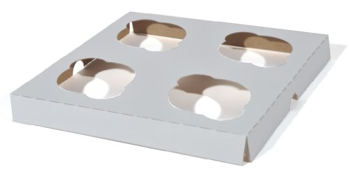 Southern Champion Tray 10007 Clay Coated Kraft Paperboard 4-ct Cupcake Insert, 7-7/8