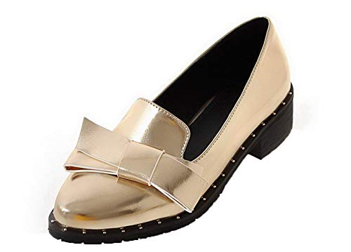 Flats Maiale Chiusa Puro Punta Oro Donna Ballet Pelle di AgooLar GMMDB005865 U7wC8pqt