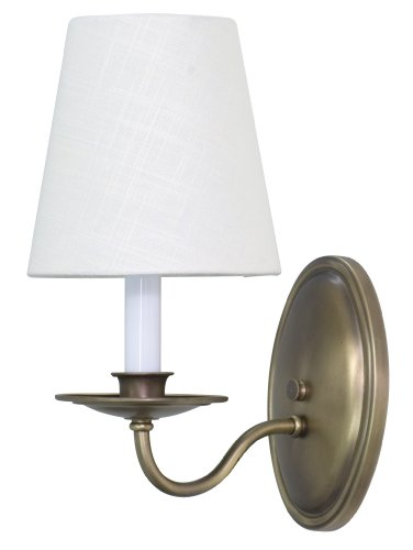 (House of Troy Lighting LS217-AB Lake Shore 1-Light Wall Sconce with Linen Fabric Shade, Antique Brass)