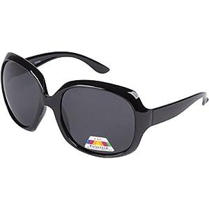 5654AG Polarized Retro Oversized Frame Fashion Sunglasses - Black Polarized