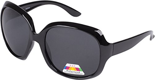 5654AG Polarized Retro Oversized Frame Fashion Sunglasses - Black Polarized