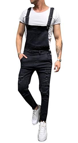 [해외]가가 남자의 힙합 펑크 소식통 찢어진 파괴 슬림 죄수 복 바지 / GAGA Men`s Hip-Hop Punk Hipster Ripped Destroyed Slim Jumpsuit Overalls