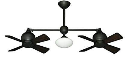 Metropolitan Modern Double Ceiling Fan In Oil Rubbed Bronze With Light U0026  Remote