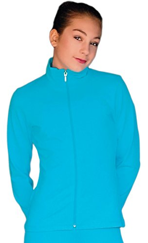 (ChloeNoel JT811 Solid Fleece Fitted Elite Figure Skating Jacket w/Thumb Holes (Turquoise,Size cm))