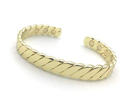- Cretoni Uni-Braided Gold Color Brass Bracelet for Arthritis - Magnetic Bracelet for Men & Women - 6 Powerful Magnets- Natural Relief of Joint Pain, RSI, Carpal Tunnel, Fatigue, Migraines